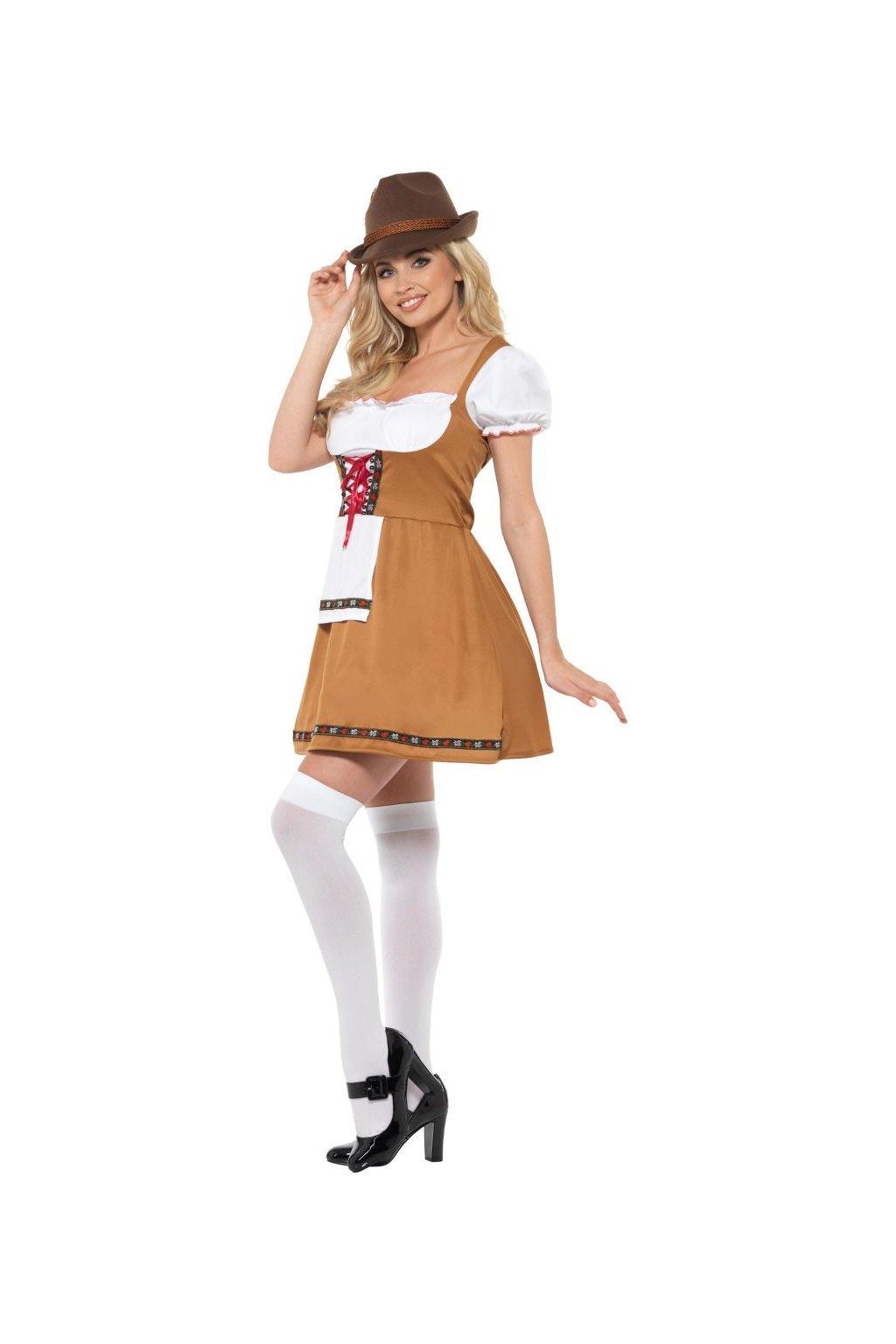 Sexy kostým bavorky - bílohnědý