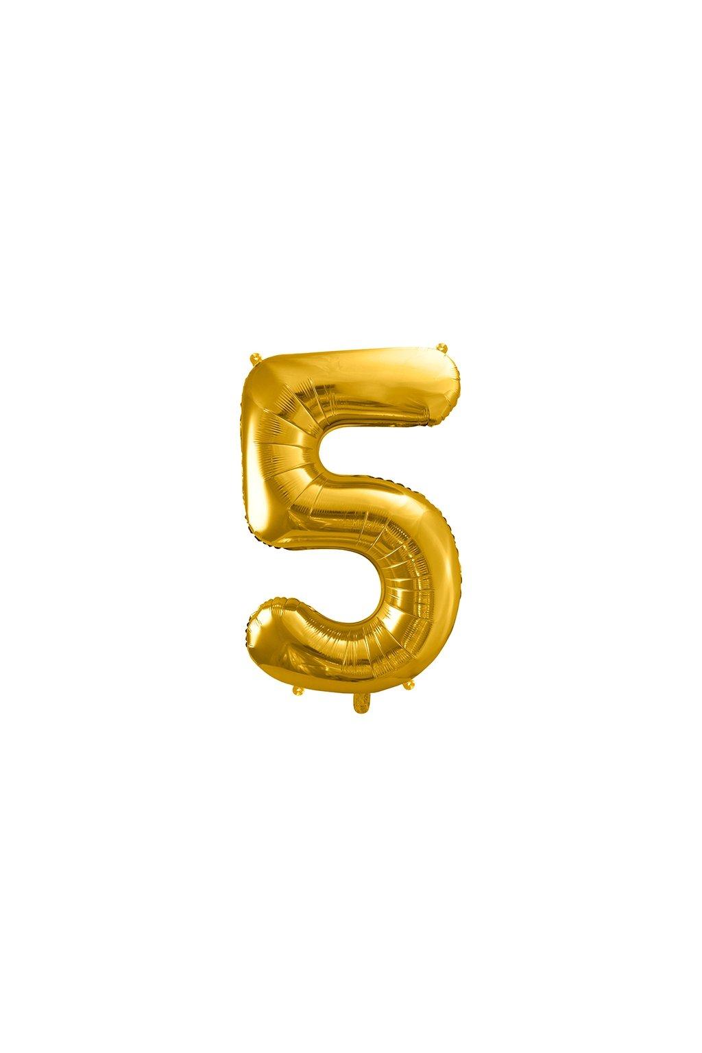 Fóliový balónek číslo 5 - zlatý 86cm