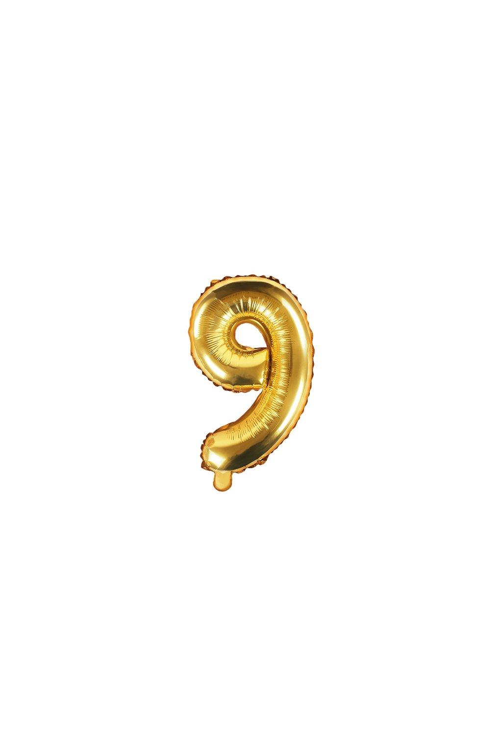 Fóliový balónek číslo 9 - zlatý 35cm