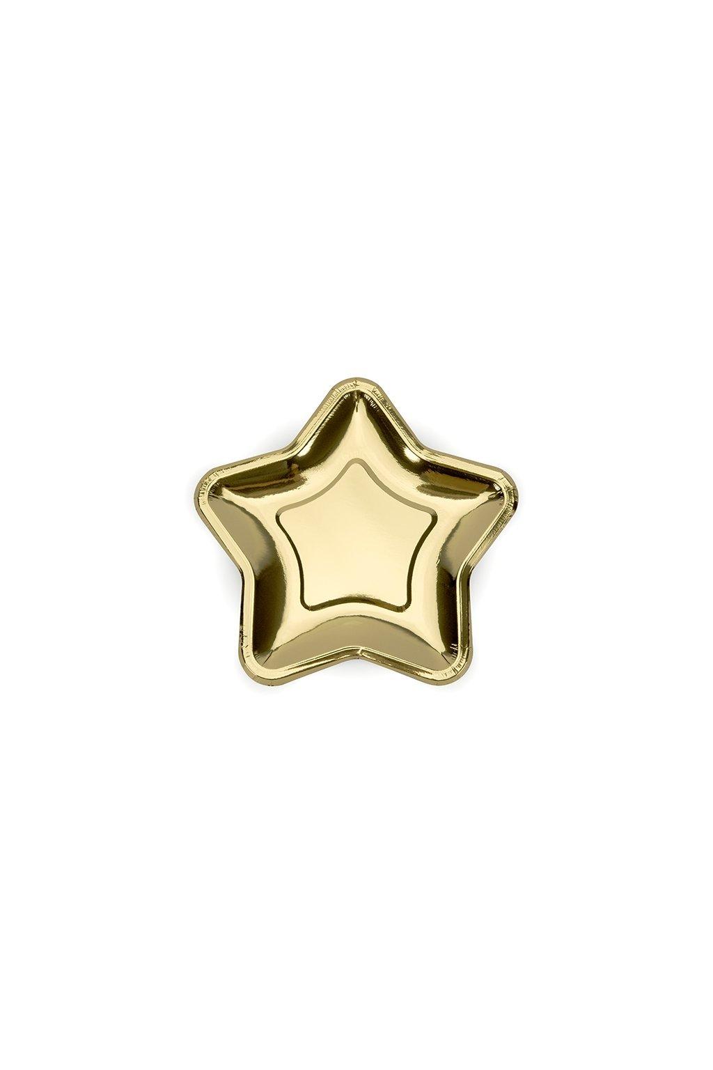 Papírový talíř hvězda - zlatá