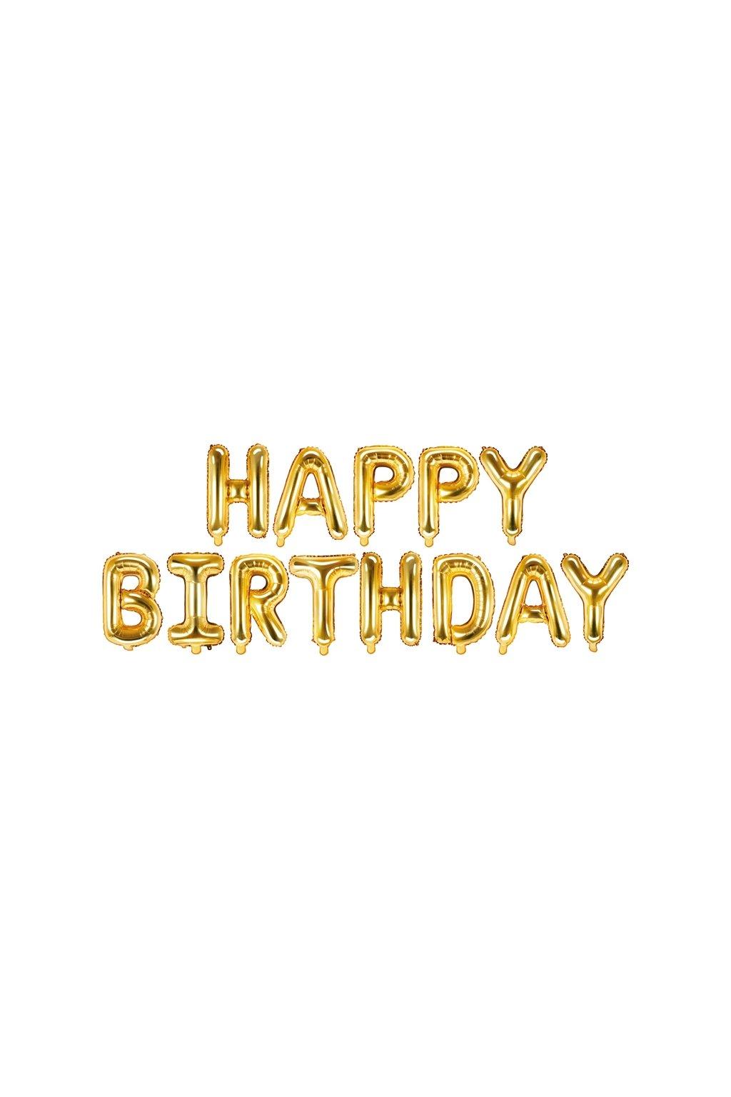 Fóliový balónek 340x35cm - HAPPY BIRTHDAY - zlatý