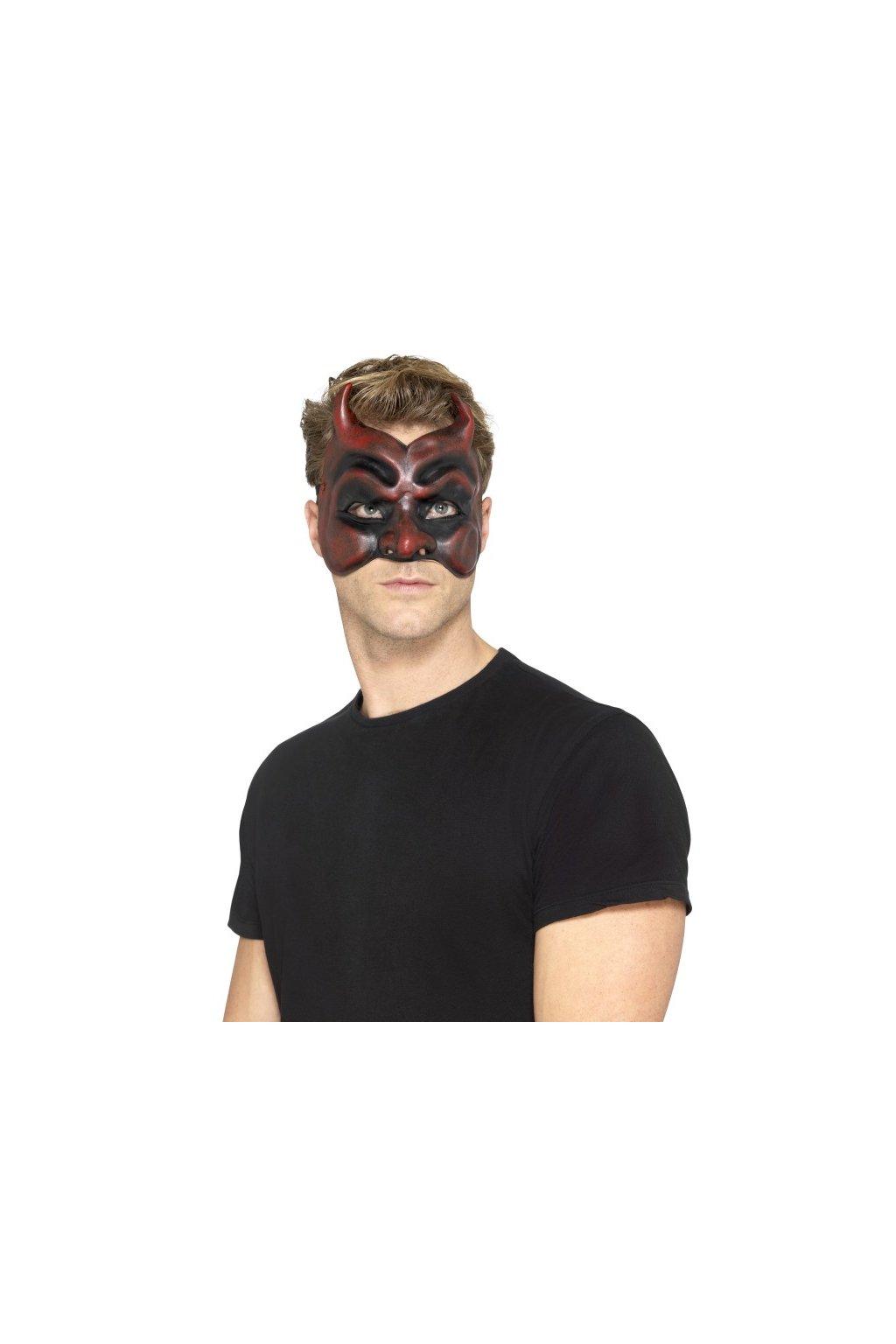 Latexová čertovská maska pánská
