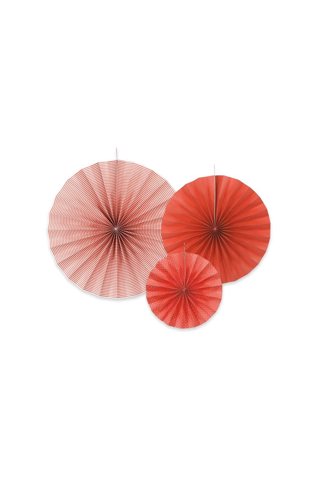 Rozety - závěsná dekorace 3 ks - červené