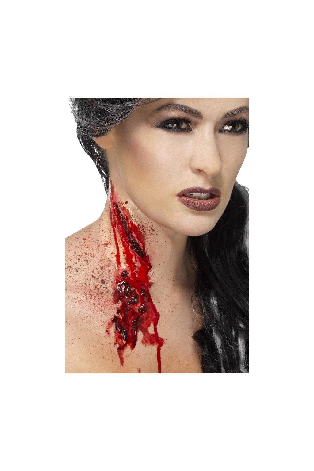 Umělá jizva - podřiznutý krk s umělou krví