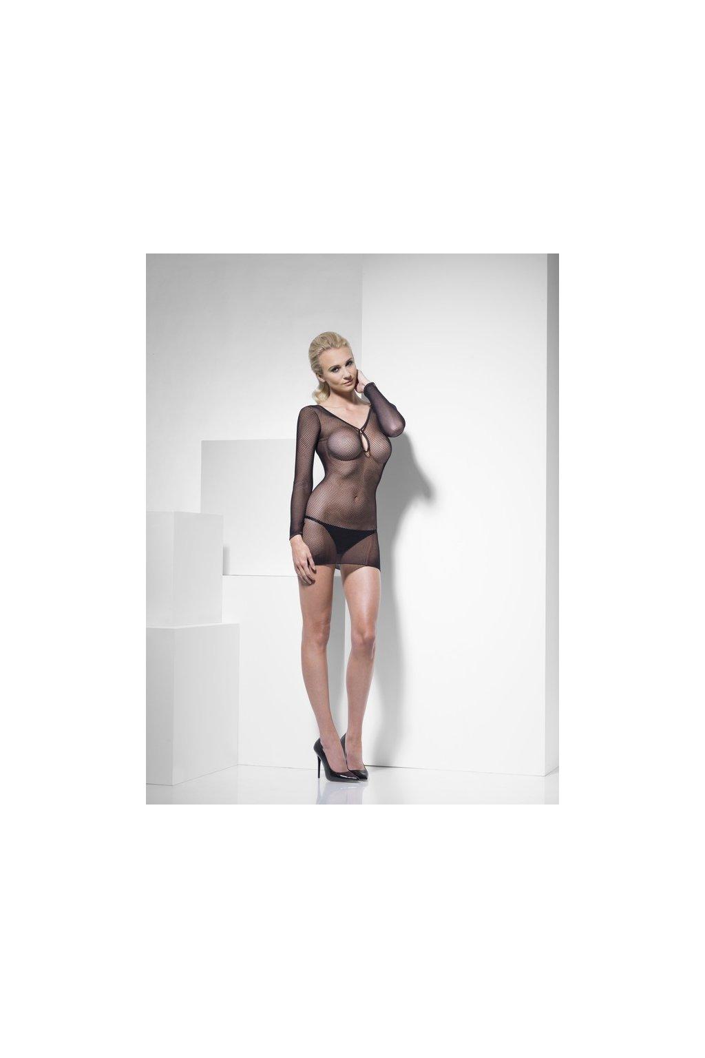 Černé síťované sexy šaty