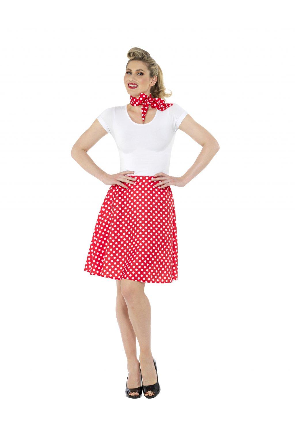 Retro sukně s šátkem - červená s putíky - Polka Dot