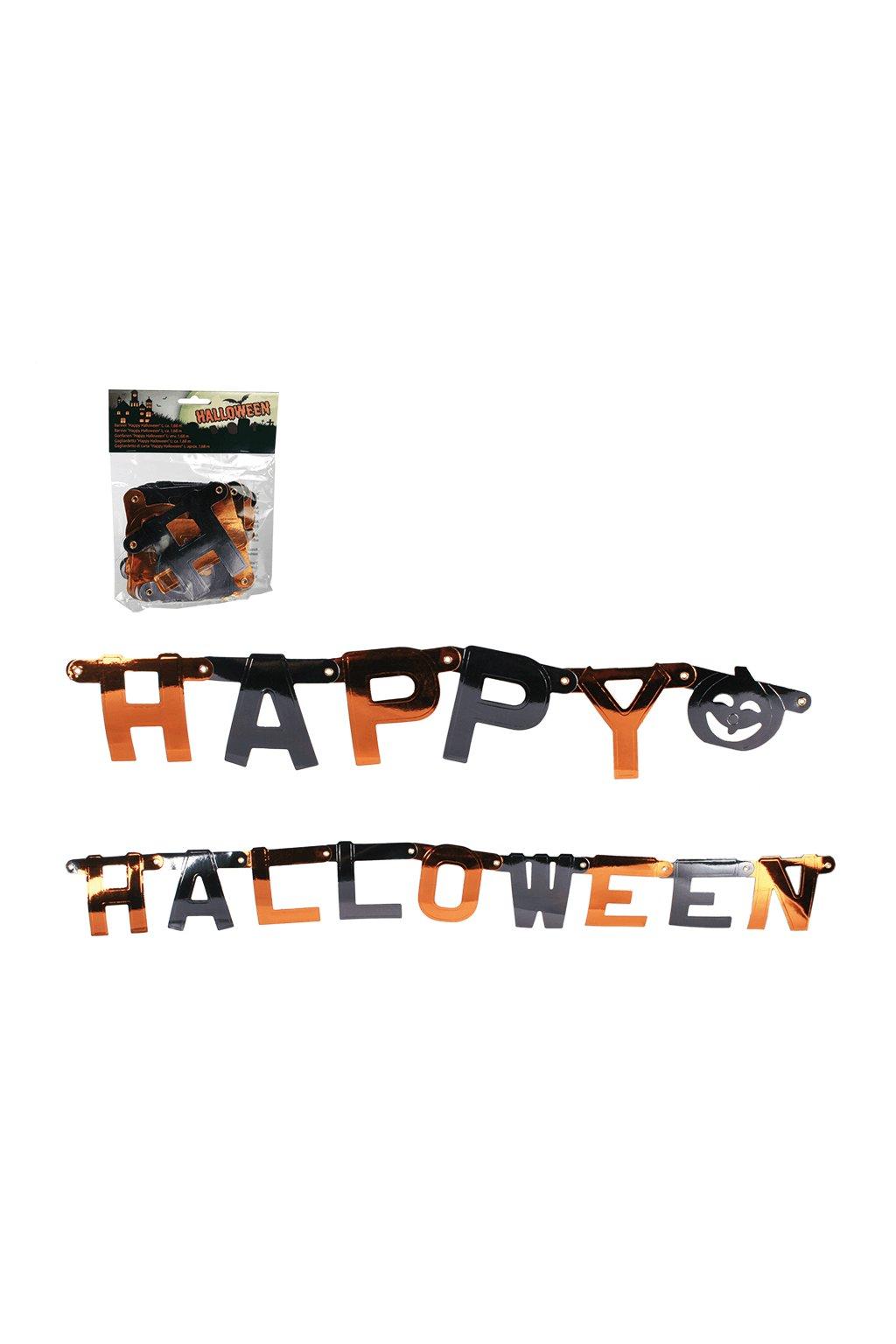 Happy Halloween - metalická girlanda