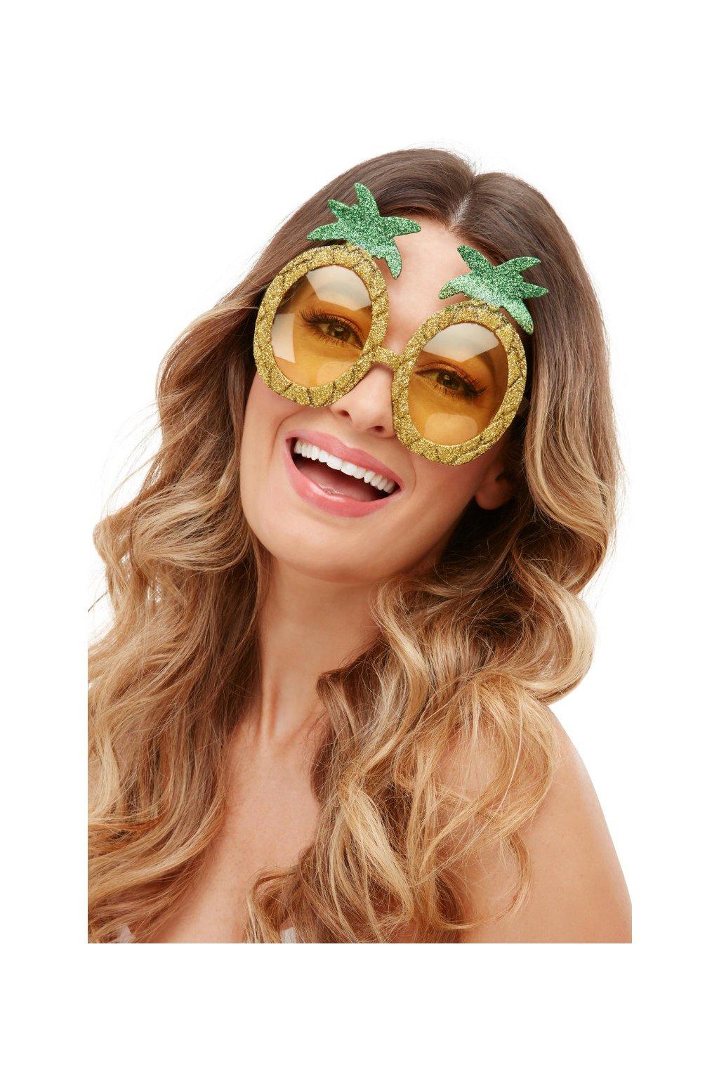 Brýle Ananas glitrované zlaté