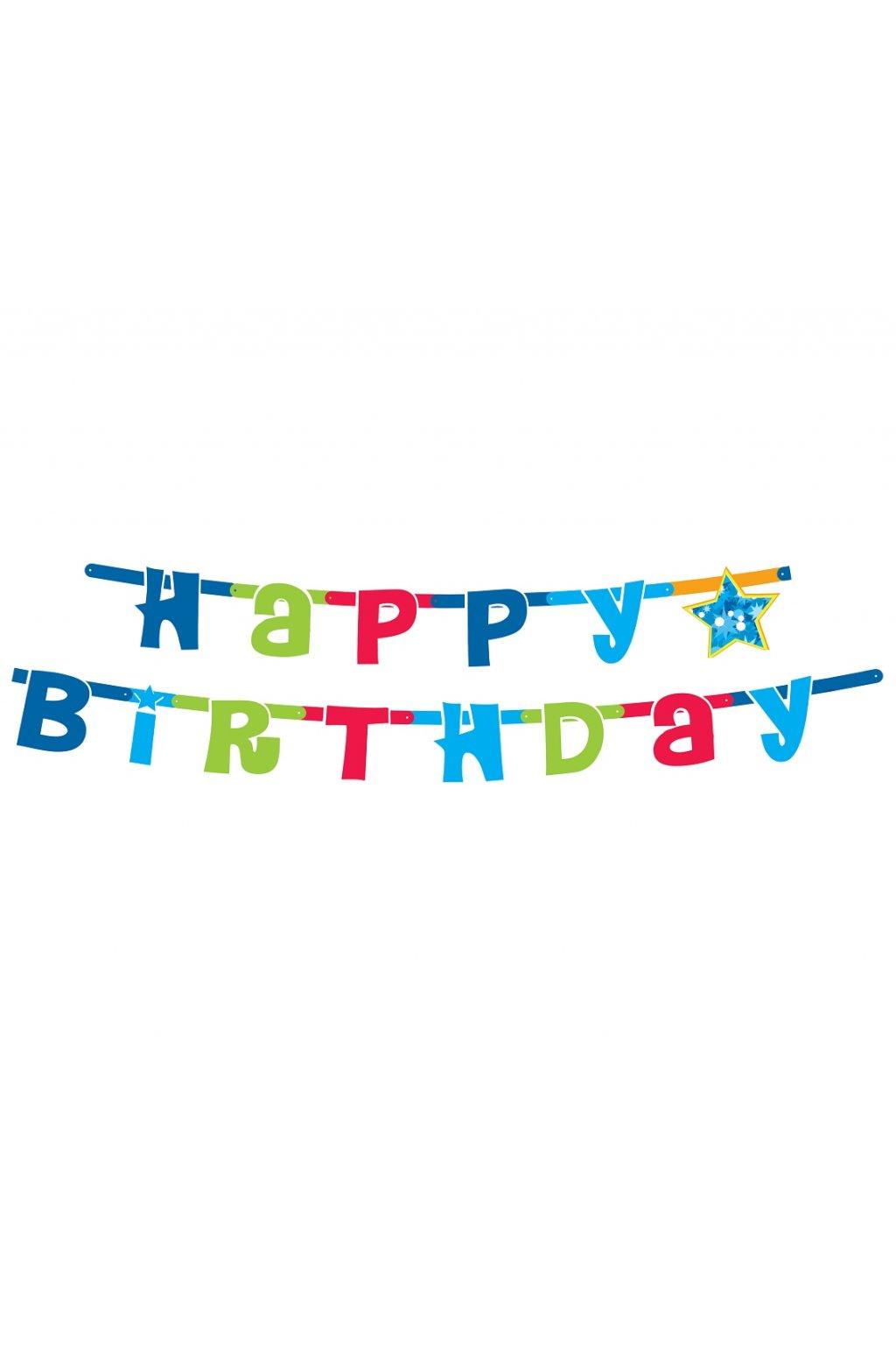 garland happy birthday blue