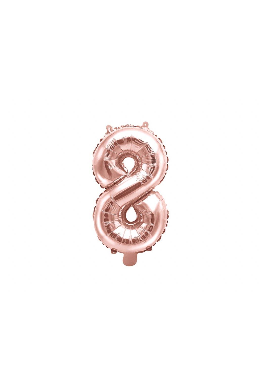 Balónek fóliový narozeniny číslo 8 - růžové zlato