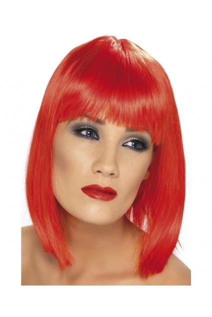 Paruka Glam jasně červená