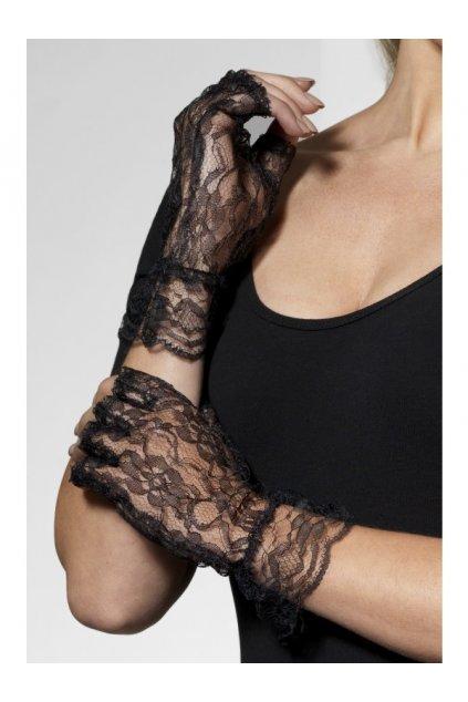 Krajkové rukavice černé - bez prstů