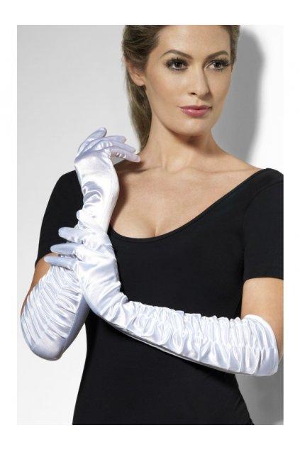 Bílé dlouhé rukavice