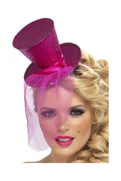 Flitrovaný růžový cylindr na čelence