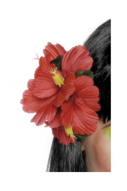 Červený květ do vlasů