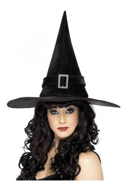 Černý čarodějnický klobouk se sponou