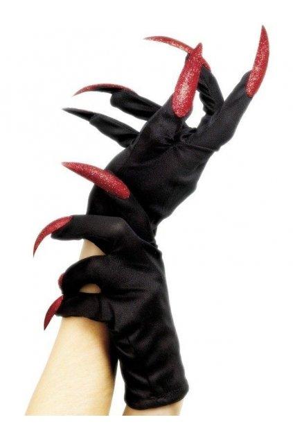 Černé rukavice s červenými nehty - drápy