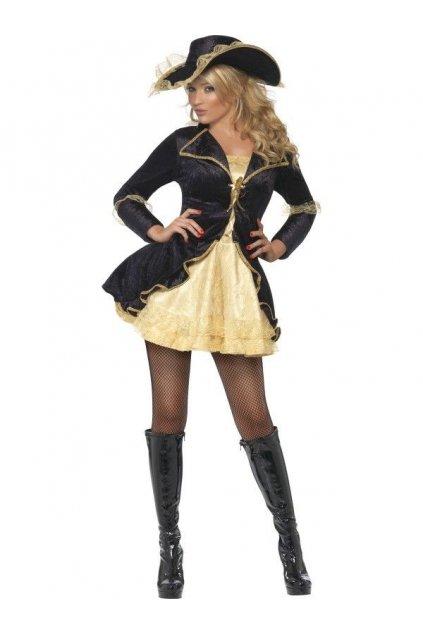 Kostým Sexy Pirátka - zlatočerný