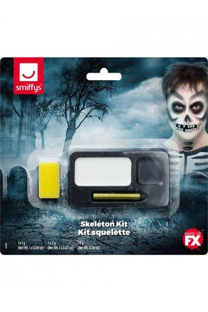 Kostlivec makeup - bílý a černý makeup, černá líčící tužkau a aplikační houbička