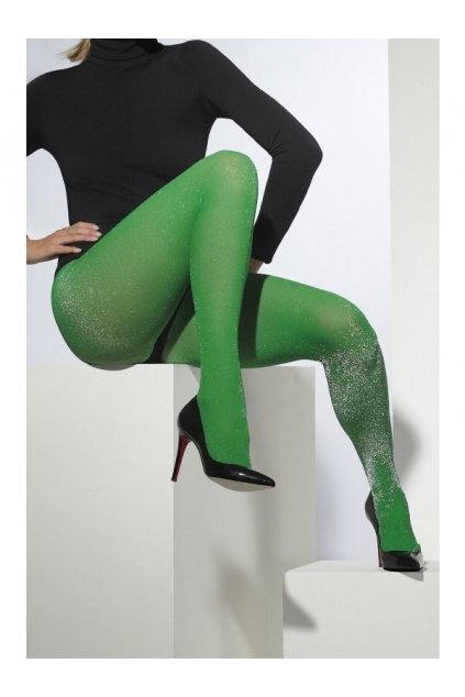 Zelené punčocháče se třpytem