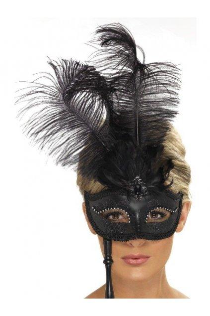 Barokní maska s peřím