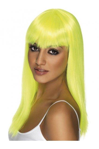 Paruka  Glamourama - neonově žlutá