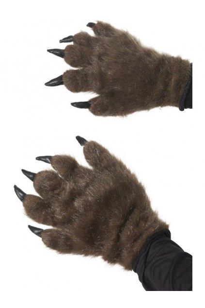 Chlupaté rukavice hnědé