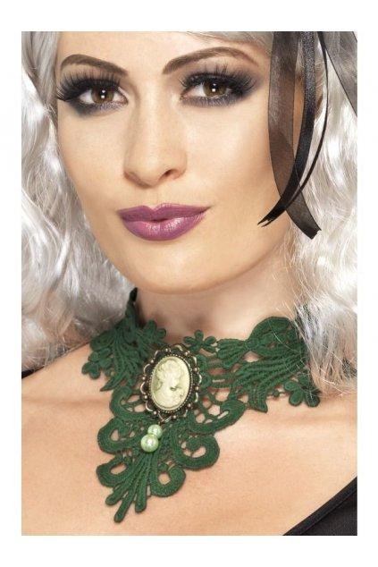 Krajkový zelený náhrdelník