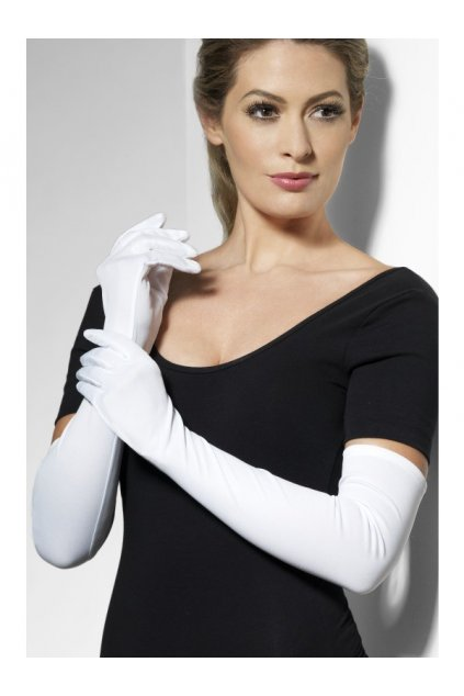 Látkové rukavice bílé