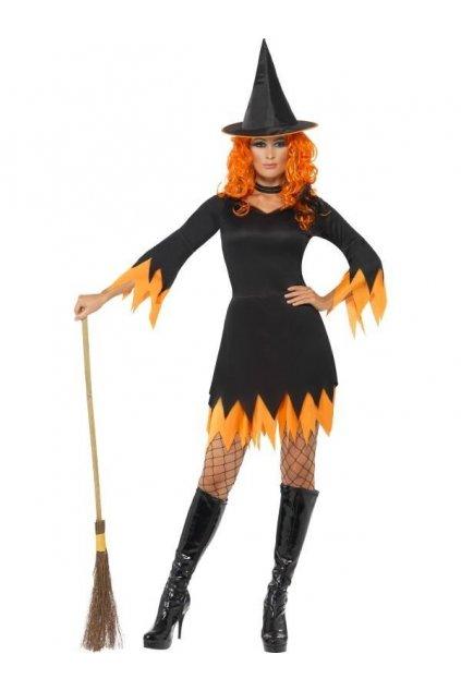 Kostým čarodějnice oranžový