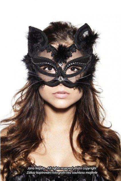 Černá krajková maska - Luxury Cat