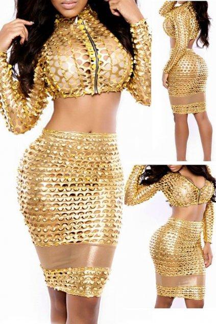Odvážný sexy set - Gold sexy dress