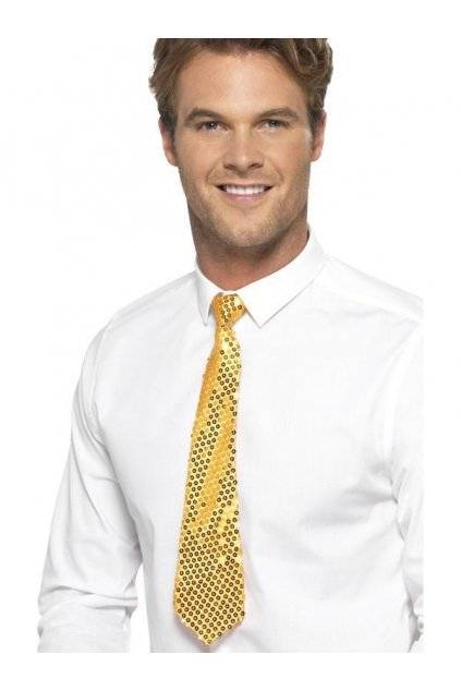 Kravata flitrovaná - zlatá