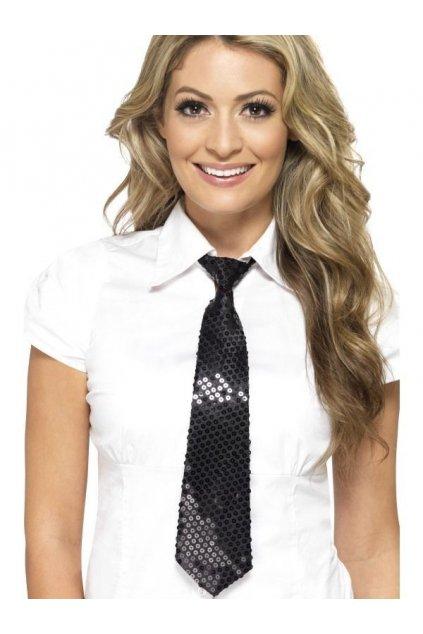 Flitrovaná kravata - černá
