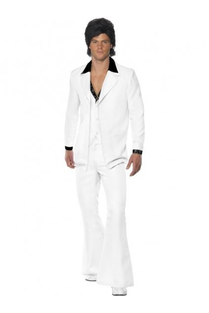 Bílý pánský oblek ve stylu 70. léta