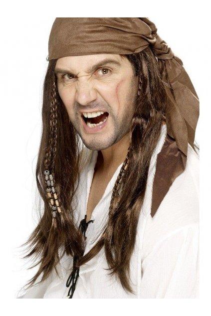 Hnědá pánská paruka - pirát