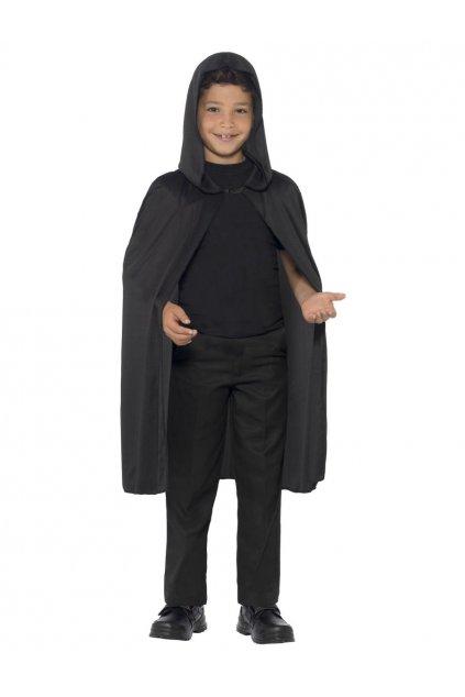Dětský plášť - černý s kapucou
