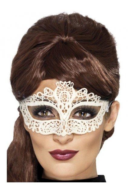 Bílá krajková maska