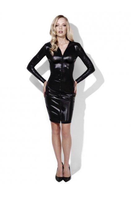 Černé latexové šaty - domina