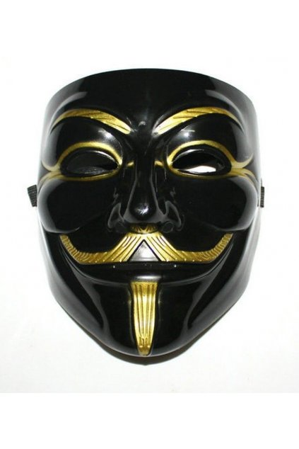 Maska Anonymous/Vendetta - black/gold