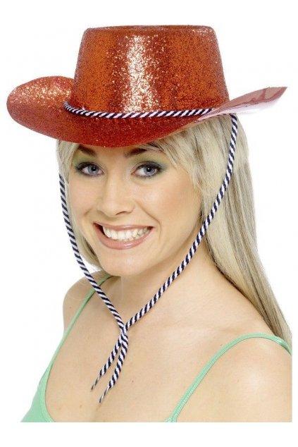 Flitrovaný kovbojský klobouk - červený