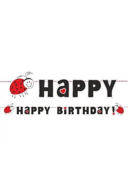 Girlanda s beruškou - Happy birthday