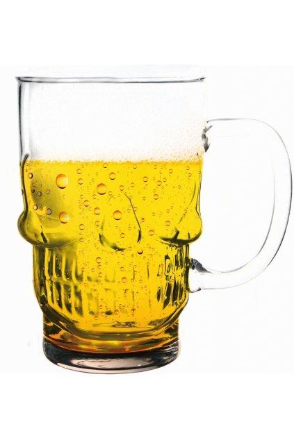 Pivní půllitr lebka