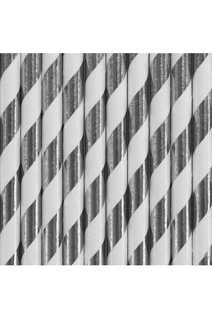 Papírová brčka - stříbrné pruhy - 10ks