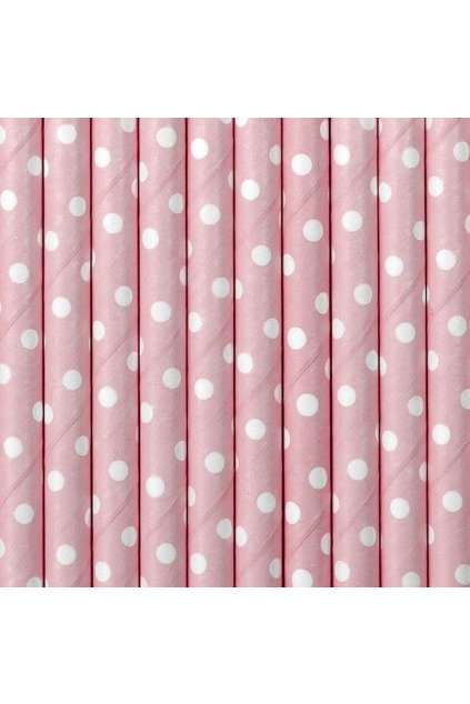 Papírová brčka - sv. růžové s puntíky - 10ks