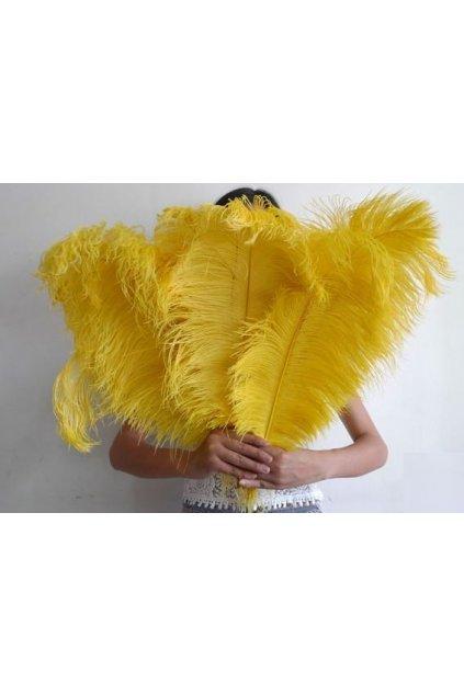 Žluté pštrosí peří - brko 55-60cm