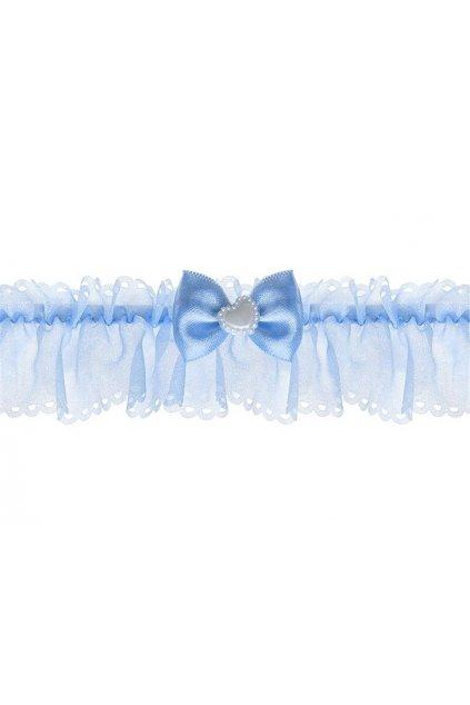 Podvazek modrý s mašličkou - svatební