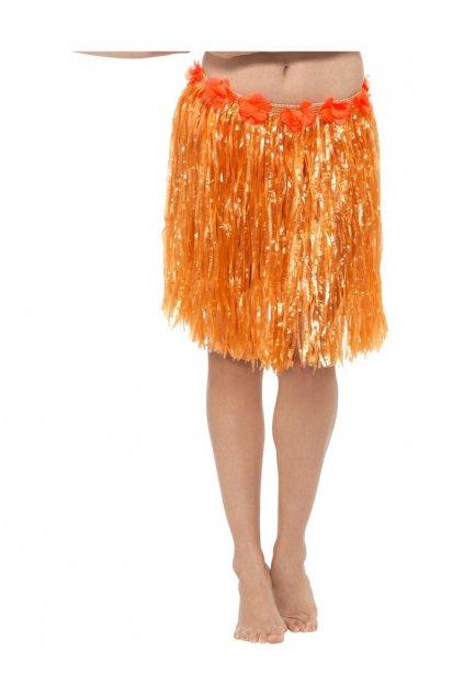 Havajská sukně - oranžová s květy