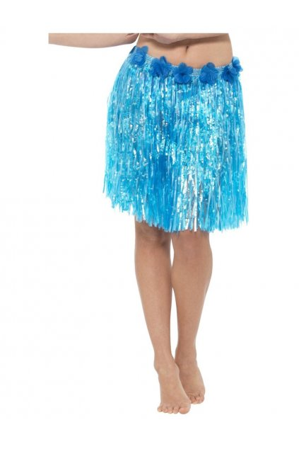 Havajská sukně - modrá s květy