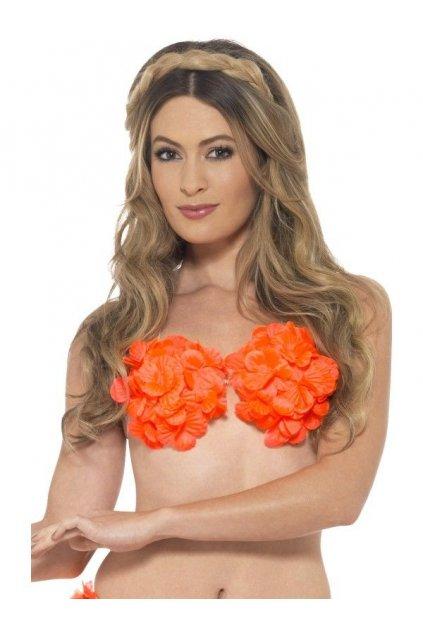 Havajská květinová podprsenka - oranžová